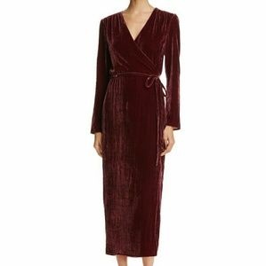 WAYF Cooper Velvet Wrap Maxi Dress